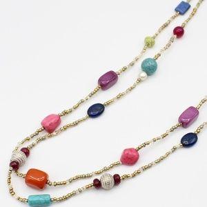 Chico's colorblock boho bead necklace
